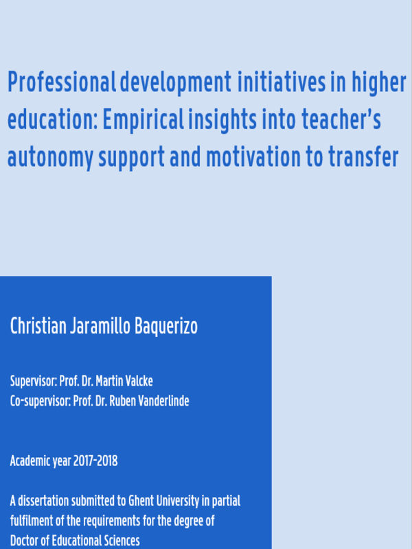 Professional development initiatives in higher education: Empirical insights into teacher's autonomy support and motivation to transfer